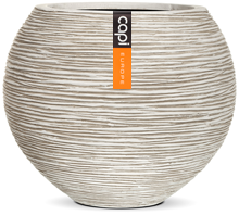 Fibre Clay Vase ball Rib Planter I 40x32 WHI