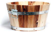 Acacia Barrel Planter 40x24cm (2 for £35)
