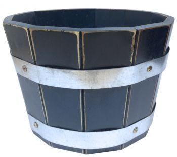 Acacia Barrel Planter (Black) - 33cm