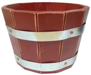 Acacia Barrel Planter in Red 40x24cm (2 for £35)