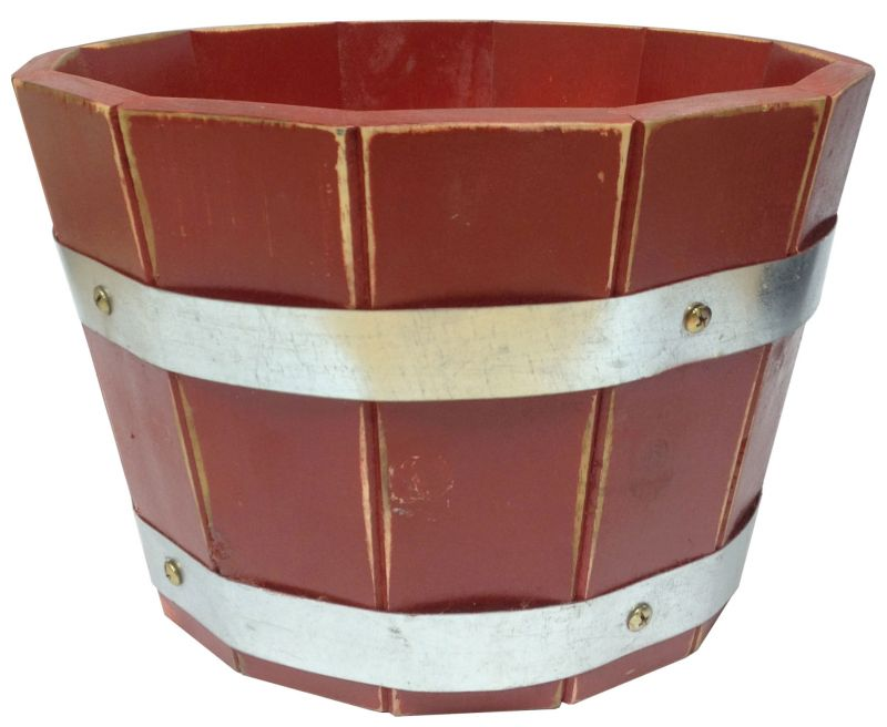 Acacia Barrel Planter in Red 46x28cm (2 for £50)