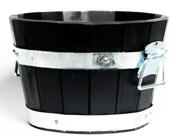 Acacia Barrel Planter in Black 33x20cm (2 for £25)