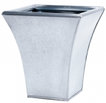 28cm Zinc Flared Square Steel Finish Metal Planter