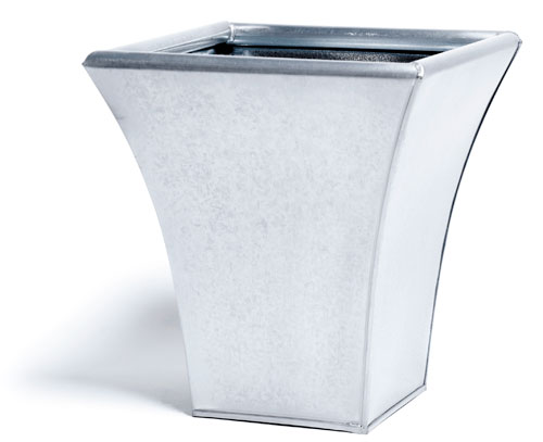 23cm Zinc Flared Square Steel Finish Metal Planter