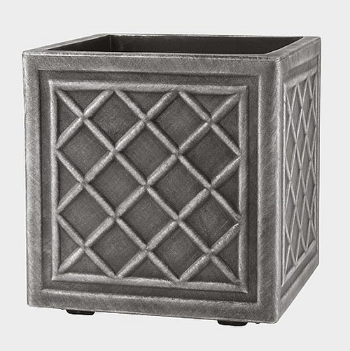 38cm Lead Effect Lattice Cube Planter - by Stewart™