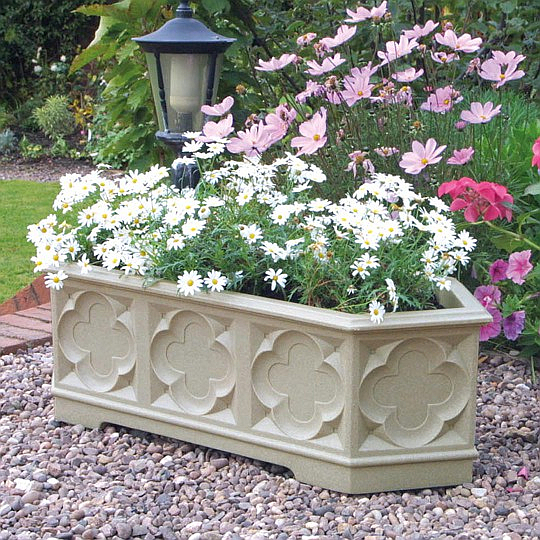 90cm White Stone Effect Ornate Gothic Trough Planter - by Stewart™