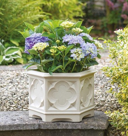 39cm White Stone Effect Ornate Gothic Hexagonal Planter - by Stewart™