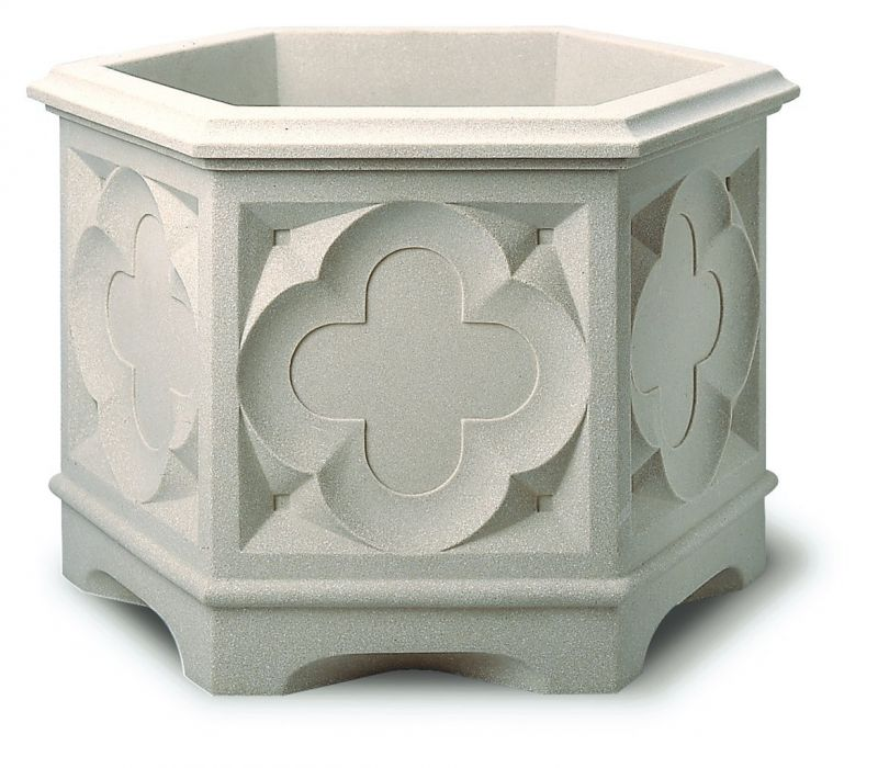 39cm White Stone Effect Ornate Gothic Hexagonal Planter