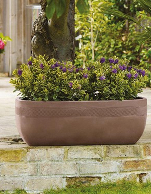 Decorative Aztec Dark Brown Trough Planter - H31cm x L80cm by Stewart™