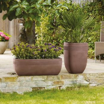Tall Decorative Aztec Sandstone Effect Planter - H62cm x W45cm by Stewart�