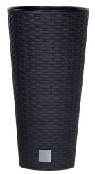 47cm Rattan Weave Effect Tall Cone Planter in Black