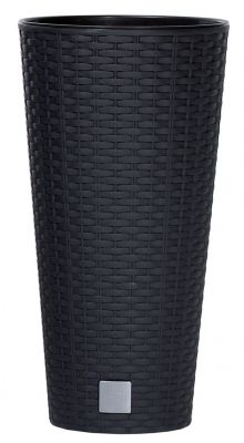 Tall Rattan Weave Effect Cone Planter in Black - H47cm x Dia25cm