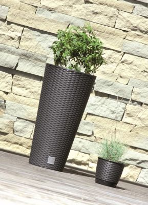 47cm  Rattan Weave Effect Tall Cone Planter in Brown