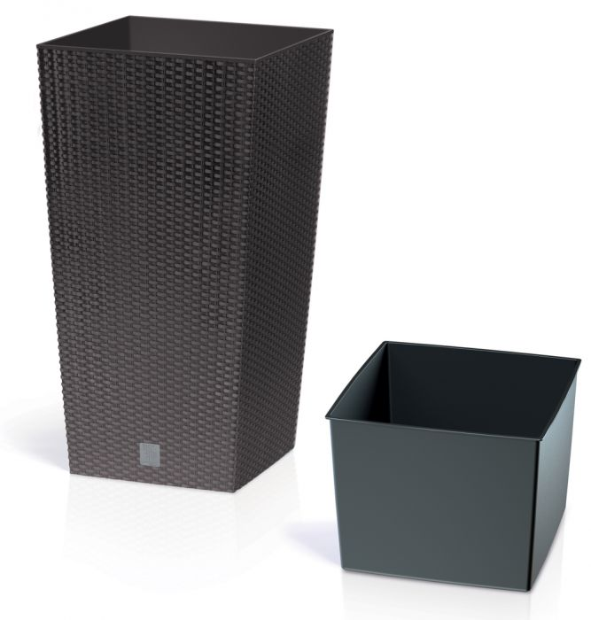42cm Rattan Weave Effect Tall Square Planter In Brown With