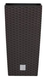 42cm Rattan Weave Effect Tall Square Planter in Brown with Insert  by Primrose™