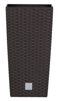 Tall Rattan Weave Effect Square Planter in Brown with Insert - H50cm x W26½cm