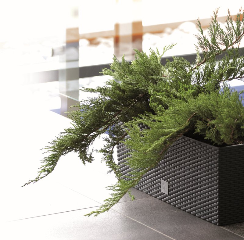 Rattan Weave Effect Trough Planter - Self-Watering in Black - H32cm x L80cm