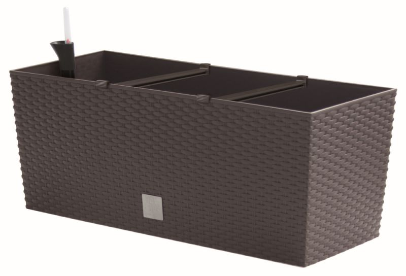 Rattan Weave Effect Trough Planter - Self-Watering in Brown - H24cm x L60cm