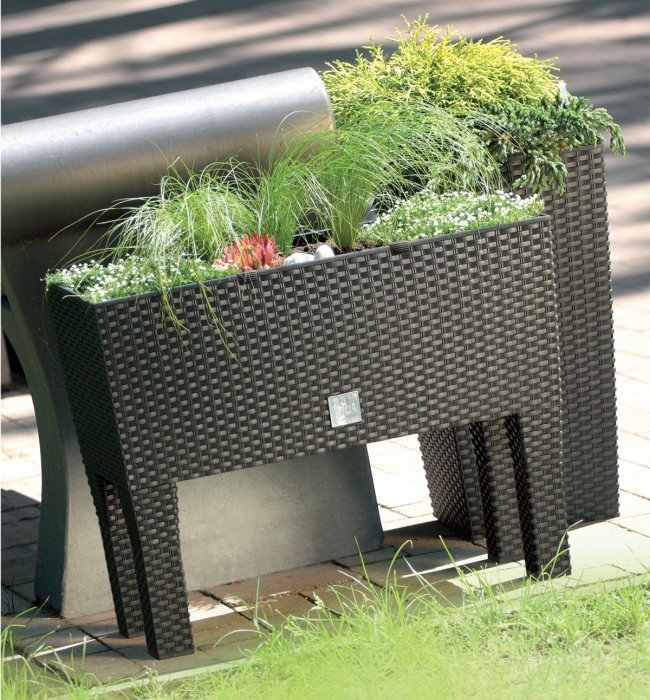 80cm Rattan Weave Effect Tall Trough Planter - Self-Watering in Black