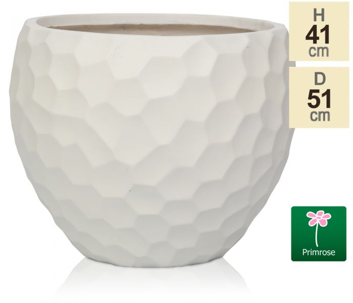 L51cm White Golf Finish Fibrecotta Round Planter - by Primrose™