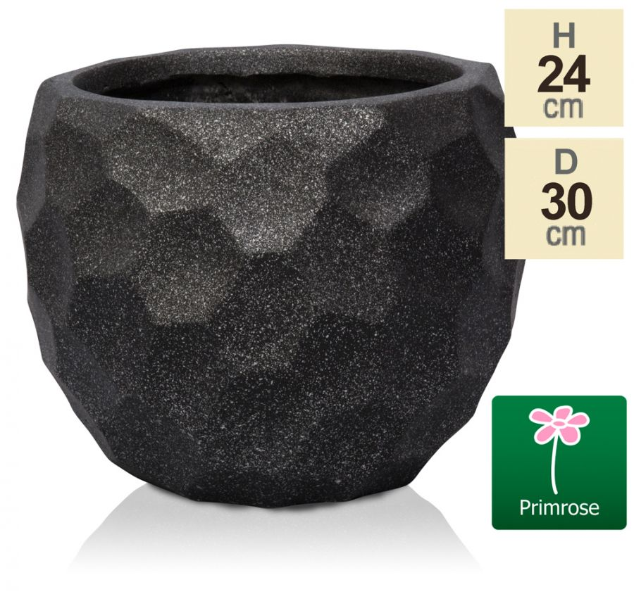 L30cm Metallic Black Golf Finish Fibrecotta Round Pot - by Primrose™