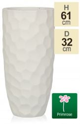H61cm White Golf Finish Fibrecotta Cylinder Planter - by Primrose™