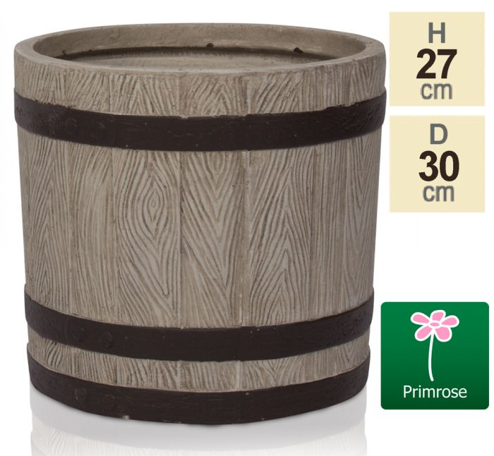 H27cm Wooden Finish Fibrecotta Cylinder Pot - by Primrose