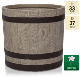 H33cm White Wooden Finish Fibrecotta Cylinder Planter - by Primrose®