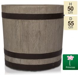 H50cm Wooden Finish Fibrecotta Cylinder Planter - by Primrose™