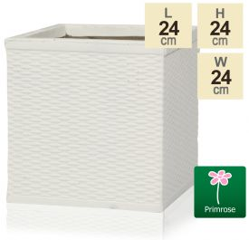 H24cm Cream Rattan Finish Fibrecotta Cube Pot - by Primrose™