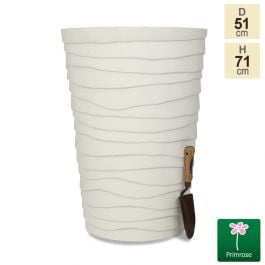 H70.5cm Cream Wave Finish Fibrecotta Flared Planter by Primrose™