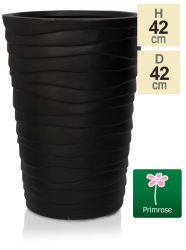 H51.5cm Black Wave Finish Fibrecotta Flared Planter - by Primrose™