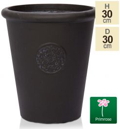 H30cm Black Washed Textured Finish Fibrecotta Cone Pot - by Primrose™