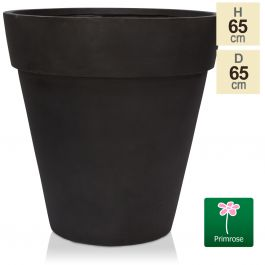 H65cm Anthracite Smooth Finish Fibrecotta Cone Planter - by Primrose™