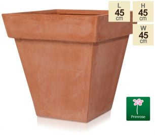 H45cm Terracotta Smooth Finish Fibrecotta Square Flared Planter - by Primrose™
