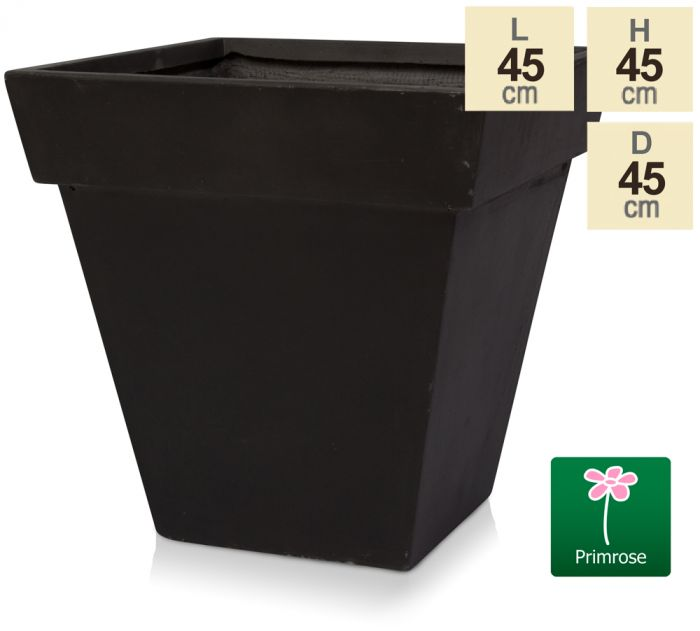 H45cm Anthracite Smooth Finish Fibrecotta Square Flared Planter - by Primrose™