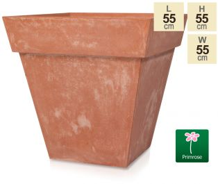 H55cm Terracotta Smooth Finish Fibrecotta Square Flared Planter - by Primrose™
