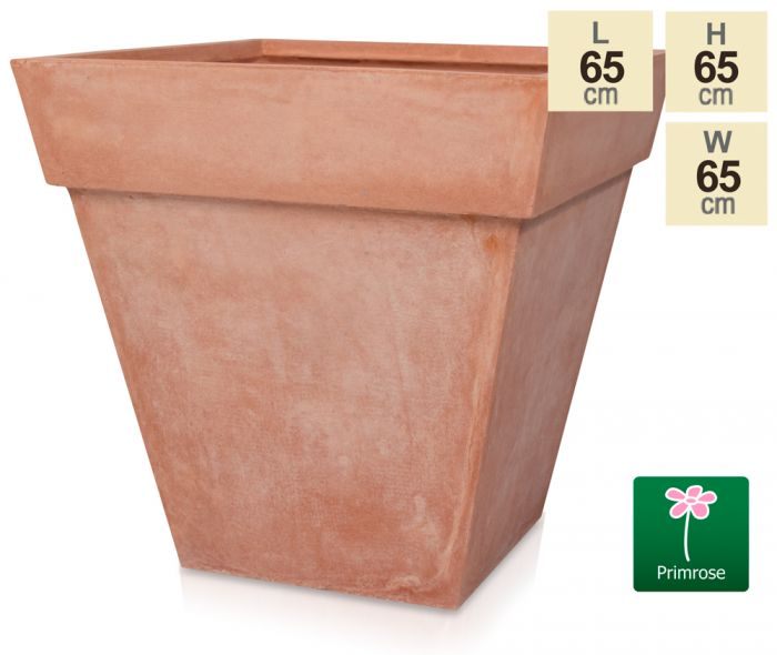 H65cm Terracotta Smooth Finish Fibrecotta Square Flared Planter - by Primrose™