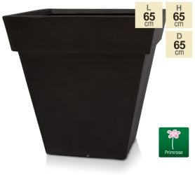 H65cm Anthracite Smooth Finish Fibrecotta Square Flared Planter - by Primrose™