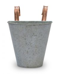 23cm Aged Zinc Single Balcony Planter