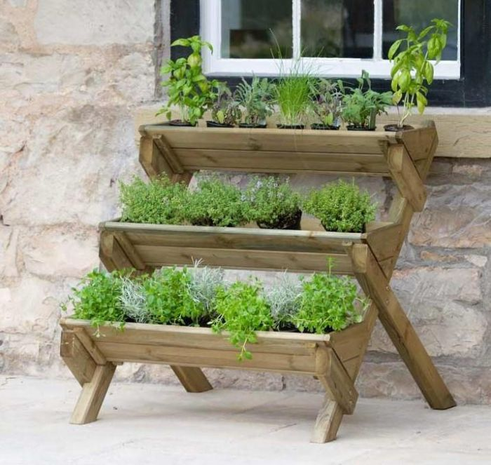 85cm (33in) Stepped Wooden Herb Planter FSC® by Zest 4 Leisure®