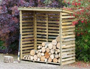 1.2m (3ft 11in) Large Log Store with Back FSC® by Zest 4 Leisure®