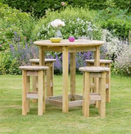 95cm (37in) Bahama Round Table & 4 Stool Set FSC® by Zest 4 Leisure®
