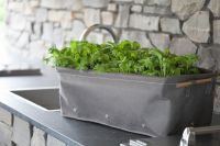 H30cm Fabric Windowsill Herb Planter in Peppercorn by BloemBagz™