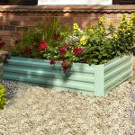 288 Litres - Raised Powder Coated Steel Planter - Green - 120cm x 80cm (H30cm)
