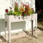 50 Litres - Tall Powder Coated Steel Planter Cream - 100cm x 24cm (H80cm)
