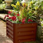 50cm Powder Coated Steel Brown Box Planter