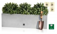 L80cm Gel Coat Fibreglass Trough Planter in Silver - By Primrose®