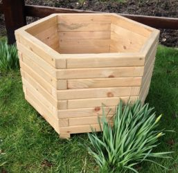 70cm Wooden Pine Large Hexagon Planter