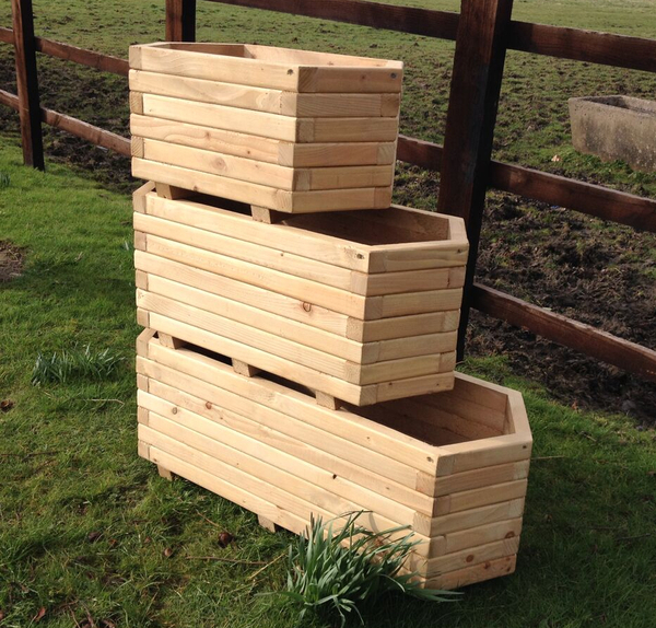 Large Corner L Shaped Wooden Garden Planter Box Trough: 1.1m Wooden Large Hexagon Trough Planter £89.99